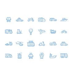 urban vehicle icons city transport planes boat vector image