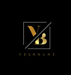 vb golden letter logo with cutted and intersected vector image