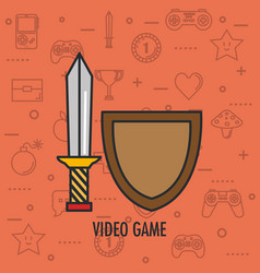 Video game shield and sword weapon app vector