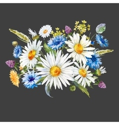Watercolor wild flowers composition vector