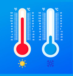 weather thermometer warm and cold temperatures vector image
