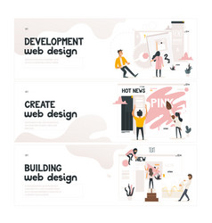 Web design development concept on horizontal vector