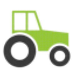 Wheeled tractor halftone icon vector