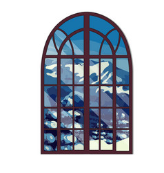Window overlooking the snow-capped mountains vector