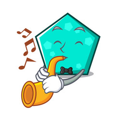 with trumpet pentagon mascot cartoon style vector image