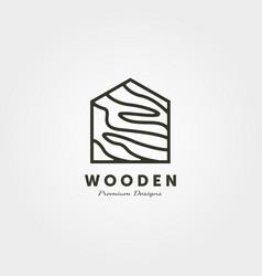 Wood house logo line art minimalist design vector