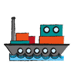 cargo ship sideview icon image vector image