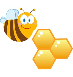 Friendly Bee And Honeycombs vector image vector image