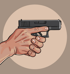 hand with gun gun control using both hands vector image