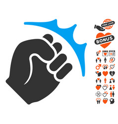 Fist strike icon with lovely bonus vector