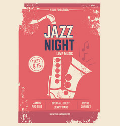 musical poster in retro style invitation for vector image vector image