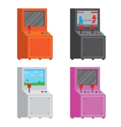 Pixel art style arcade game cabinet isolated vector image
