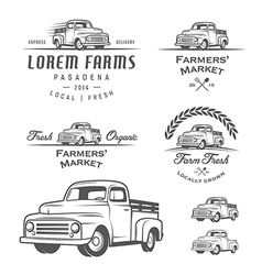 Set of retro farming labels and badges vector image vector image