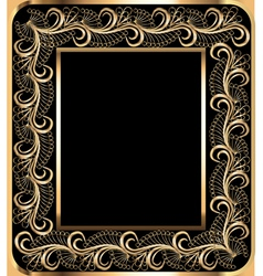 background frame with vegetable golden ornament vector image vector image