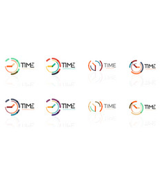 clock time concept set thin line flat design vector image