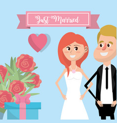 couple married with flowers and ribbon design vector image vector image
