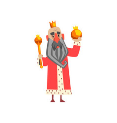 funny king character in red mantle holding orb and vector image vector image