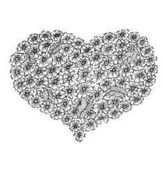 Hand drawn heart from flowers vector image