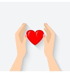 heart in hands symbol vector image vector image