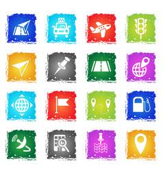 navigation transport map icon set vector image vector image