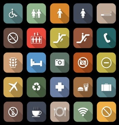 Public flat icons with long shadow vector image