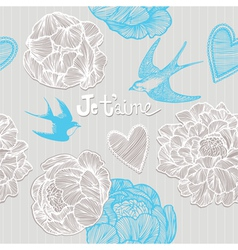 Valentines card Swallows and flowers Seamless patt vector image