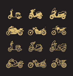 vintage motorbike and motorcycle icons set vector image