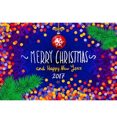 Christmas card with confetti Merry Christmas and vector image