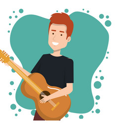 music festival live with man playing acoustic vector image vector image