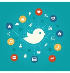 Set of modern flat design social media vector image