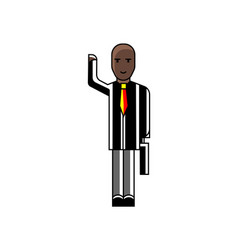african businessman with suitcase waving hand vector image
