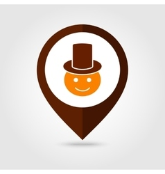American Pilgrim mapping pin icon Thanksgiving vector