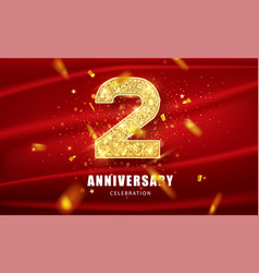 anniversary 2st gold glitter numbers with golden vector image