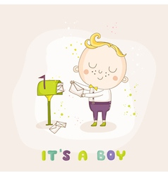 Baby Boy with Mail - Baby Shower or Arrival Card vector