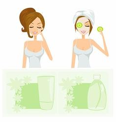 Beauty women getting facial mask set vector