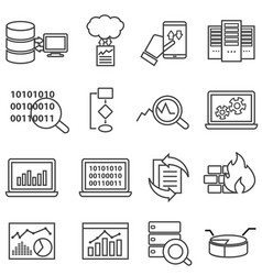 big data machine learning and data analysis line vector image