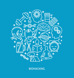 biohacking round concept banner with icons in line vector image