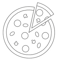Black and white pizza slice fast food icon poster vector