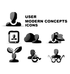 Black modern person concepts glossy icon set vector image