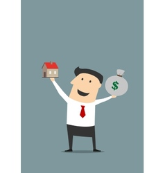 Businessman with money bag and house model vector image