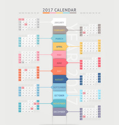 Calendar 2017 print template design vector