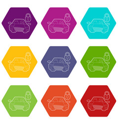 car and padlock icons set 9 vector image