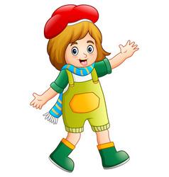 cartoon happy girl posing vector image
