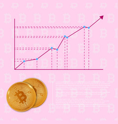 chart of bitcoin increase in vector image