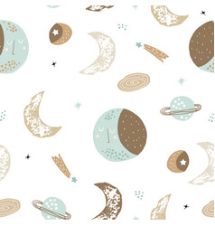 childish seamless pattern with hand drawn space vector image