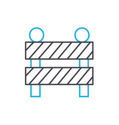 construction fence thin line stroke icon vector image