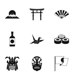 Country Japan icons set simple style vector
