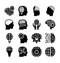 Creative brains icons vector