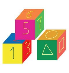 Cube-shaped multi-colored number toyscube-shaped vector