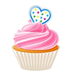 Cupcake with blue heart vector